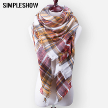 SIMPLESHOW Fashion Wool Winter Scarf For Women Scarf Warm Plaid Thick Shawls And Scarves Large Brand Scarf High Quality(China)