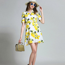 Buy Summer 2017 new European style women Lemon prints High-end big Elegant temperament v collar short sleeve Women mini sexy dress for $26.76 in AliExpress store