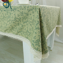 Sinogem Light Green Table Cloth Cotton Soft Table Cover Flowers Printed Dining Coffee Table Cloth Rectangle Dustproof Cloth(China)