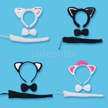 Cute Animal Tail & Ear Headband Bow Tie 3Pc Tail Party Little Cat Fancy Dress Costume For Christmas Halloween Carnivals Hot