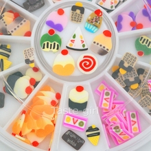 12 colors fimo Nail Art Decoration slice wheel beauty nails accessoires jewelry Manicure DIY Tools Chocolate cake nail decals