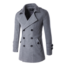 Winter Men Slim Fit Wool & Blends Autumn Solid Brand Clothing Jacket Wool Coat Casual Overcoat Long Warm Plaid 3 Colors 9280
