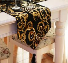 Modern Gold black satin fabric sequin Bed Table Runner luxury placemat Geometric Wedding Table cloth cover tablecloth Decor