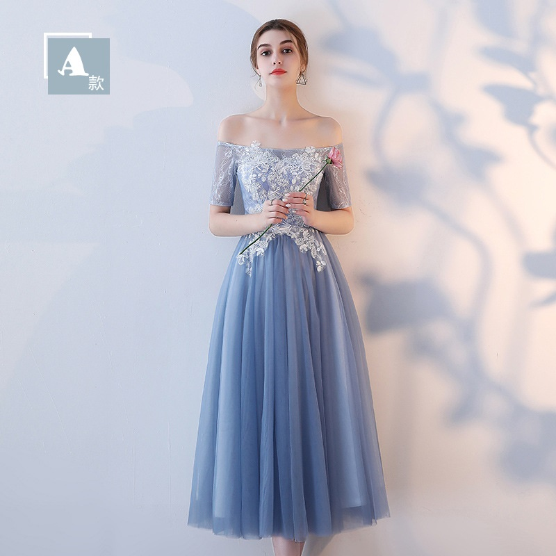 Dress Bridesmaids-Dresses Formal-Gown Puffy Dusty Blue Wedding-Party Elegant Long Lace title=