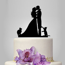 2017 Acrylic Sweet Love Wedding Cake Topper/Wedding Stand/Wedding Decoration Wedding Cake Accessories Casamento 2 Cats(China)