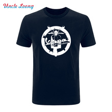 New Summer Fashion Vespa vintage motorcycle Logo printing Men Hip Hop T shirt Tees 7 Colors Mens casual Clothing(China)