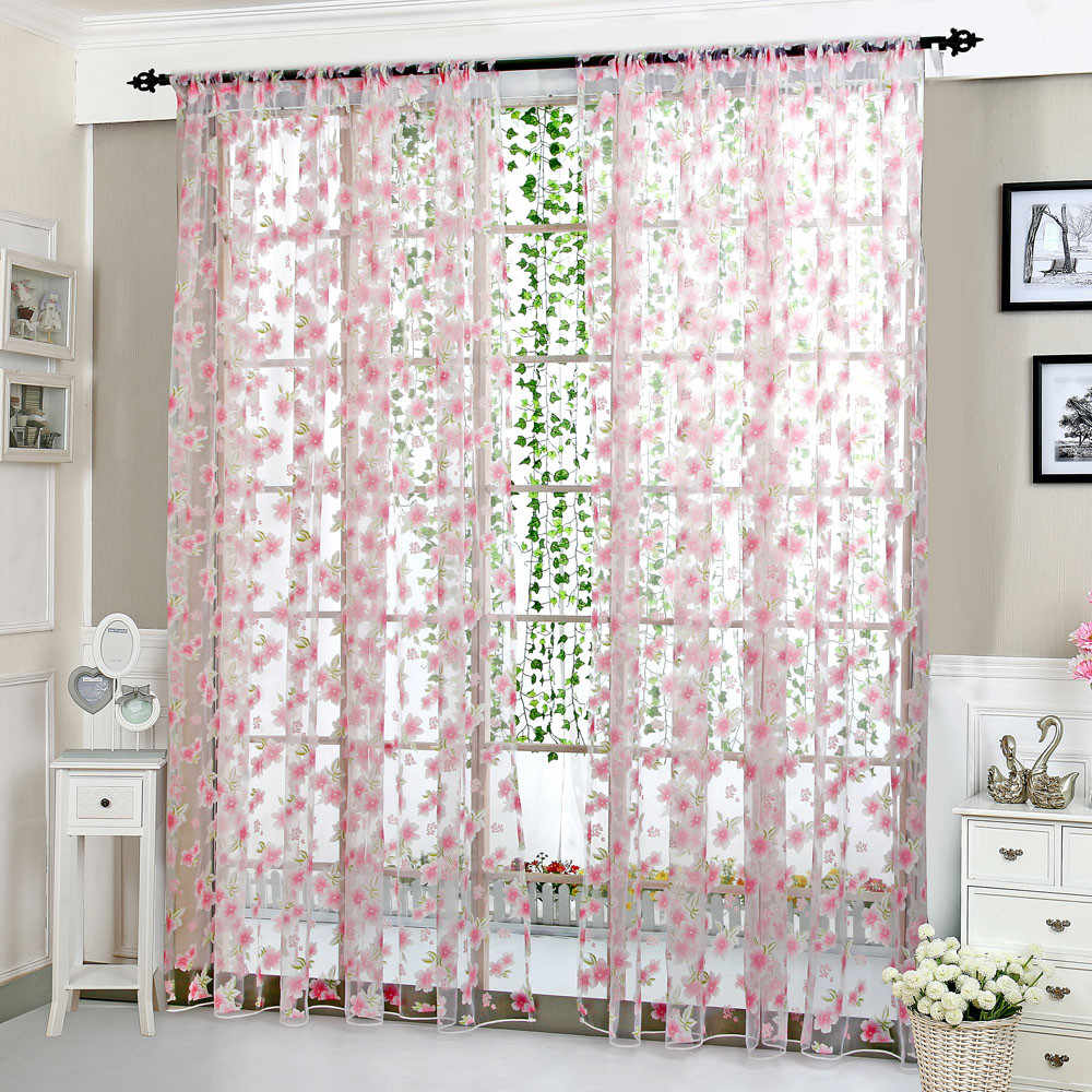 Embroidery Flowers Lace Flower Sheer Curtain Tulle Window Treatment Voile Drape Valance 1 Panel Fabric Pink Tulle Curtain