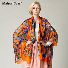 Large Size And Extra Thick Silk Paj Scarves 100% Silk 8mm 180x110cm Butterfly Pattern Fashion Brand Shawl Designer Scarf(China)