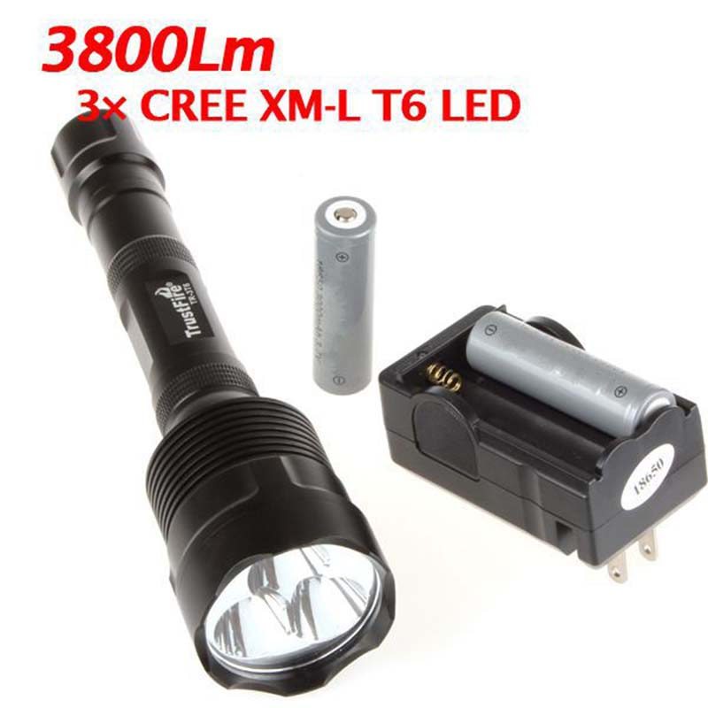 Powerful LED Flashlight 4000 Lumens 3x XML T6 LED Flashlamp Torch+Holster Light 30W LED Torch Lamps 2x18650 Battery+Charger<br>