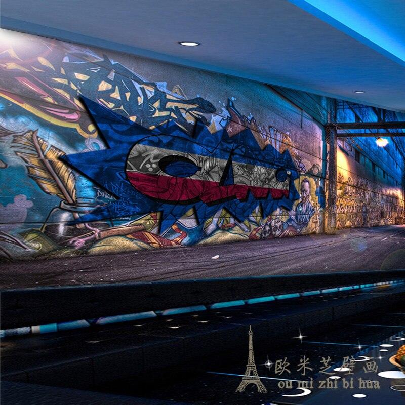 Large European fashion graffiti street art 3D stereoscopic bar ktv backdrop creative wallpaper mural wallpaper<br><br>Aliexpress
