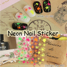 Free Shipping 24pcs Neon Firework Splashing Spot Nail Art Sticker Fluorescent Colorful Sparkle Stain Decals French Manicure no.7(China)