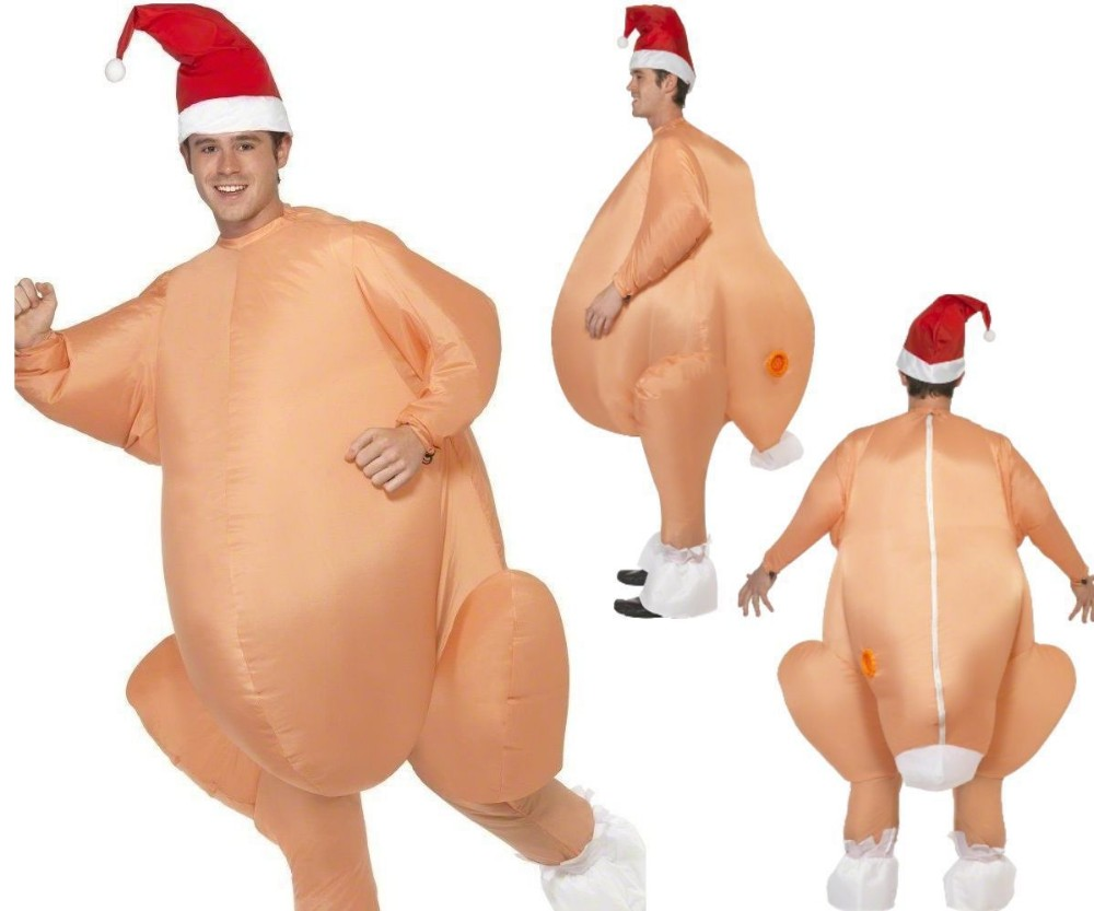 Turkey Costume Clothing Mascot Fancy Dress Chicken Christmas Halloween Adults Inflatable title=