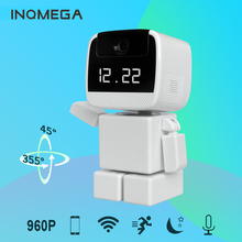 INQMEGA New 960P IP Camera Wi-Fi Home Security Robot Cam with LED Display Clock Remote Control Night Vision Pan Home IP Cam