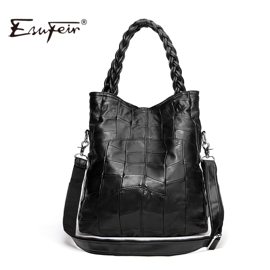 New 2017 Fashion Genuine Leather Women Bag Patchwork Natural Sheepskin Shoulder Bag Famous Brand Women Handbag Casual Tote sac<br>