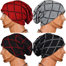 5 Colors Plaid Pattern Hats for Men Winter Beanies Black Red Gray Caps Gorros Unisex Bonnet Check Hat Skullies LZ030