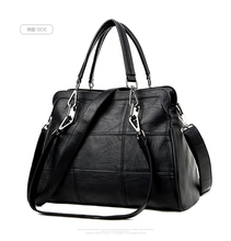 WANU Hot selling leather women's handbag sheepskin female shoulder bag women messenger bag black fashion top-handle bags(China)
