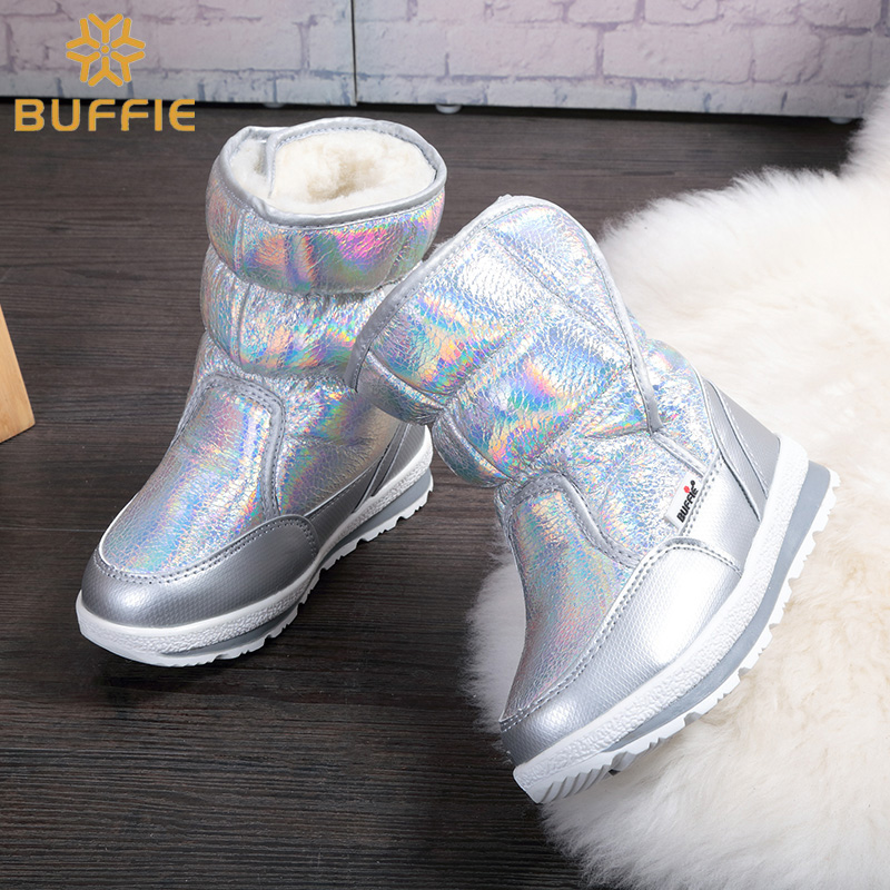 New Winter fashion women boots mixed natural wool female warm boots waterproof thick fur size 27 to 41 silver lady snow boots  <br>