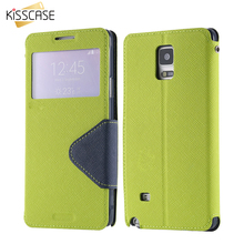 KISSACSE For Samsung Note 4 Case Open Windon View Display Flip Cover For Samsung Galaxy Note 4 PU Leather Card Slot Stand Wallet