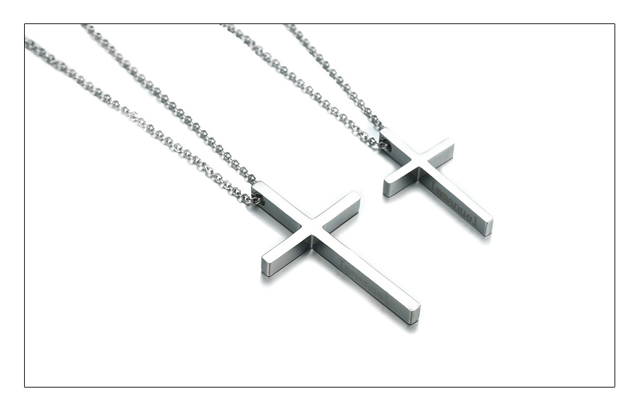 Meaeguet Immanuel Lover Cross Pendant Jesus Necklaces For Women Men Couple Silver Color Stainless Steel Religious Jewelry  (4)
