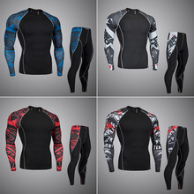 Top quality new thermal undewear men undewear sets compression fleece sweat quick drying thermo underwear men clothing(China)