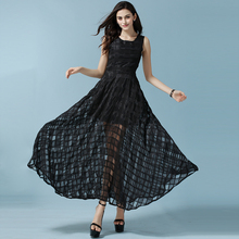 2017 Summer New Free Shipping Europe States Eugen Yarn Jacquard Embroidery Long Dress Big Size Women Fashion Black(China)