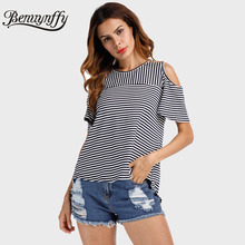 Benuynffy Cold Shoulder T Shirt Women Tops Back Split O-Neck Striped Top Tees Female 2017 Short Sleeve Casual Summer T-Shirts(China)
