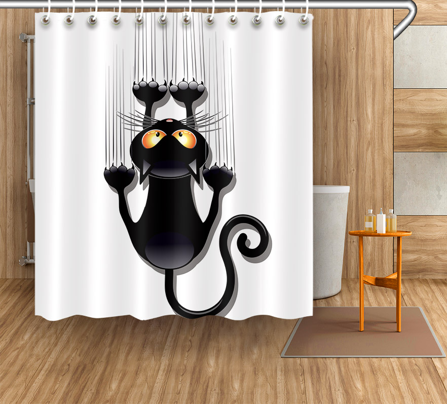 2019 Latest Design 150x180cm Waterproof Shower Curtain Creative Funny Uni-angle Animal And Cat Pattern Polyester Fabric With 12 Hooks For Bathroom 100% Guarantee Bath Screens