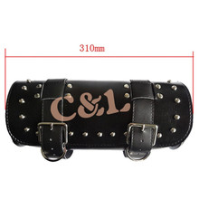 Front Forks Bag Two-Strap Tools Bag with Studs For Motorcycle Riding Fit For harley Davidson(China)