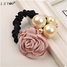 Fashion Big Imitation pearl Rose Flower Hair Band Hair rope Camellia Rhioestone Hairband Headdress rubber band bijoux cheveux