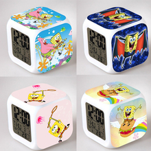 SpongeBob Alarm Night Light Clock Lovely Popular Square LED Colorful Digital Electronic Clock America Anime Toys Small Gift #F(China)