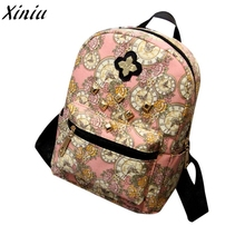 Women Fashion Backpack Clock Flowers Canvas Bag #9926(China)