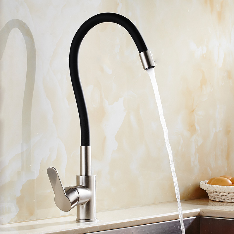 Universal Black/Orange Silicon and Brass Kitchen Mixer Faucet Vegetable Sink Mixer Tap Hot and Cold Water Faucet 9104<br><br>Aliexpress