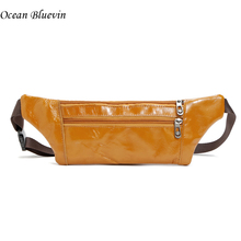 Hot Sale Genuine Leather Waist Packs Light Thin Portable Phone Pouch Bags 3 Colors Zipper Travel Waist Pack Male Small Bag Pouch(China)
