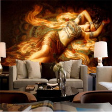 desktop wallpaper 3d murals Southeast Asian style wallpaper pattern painting of  Flying maid photo wallpaper living room