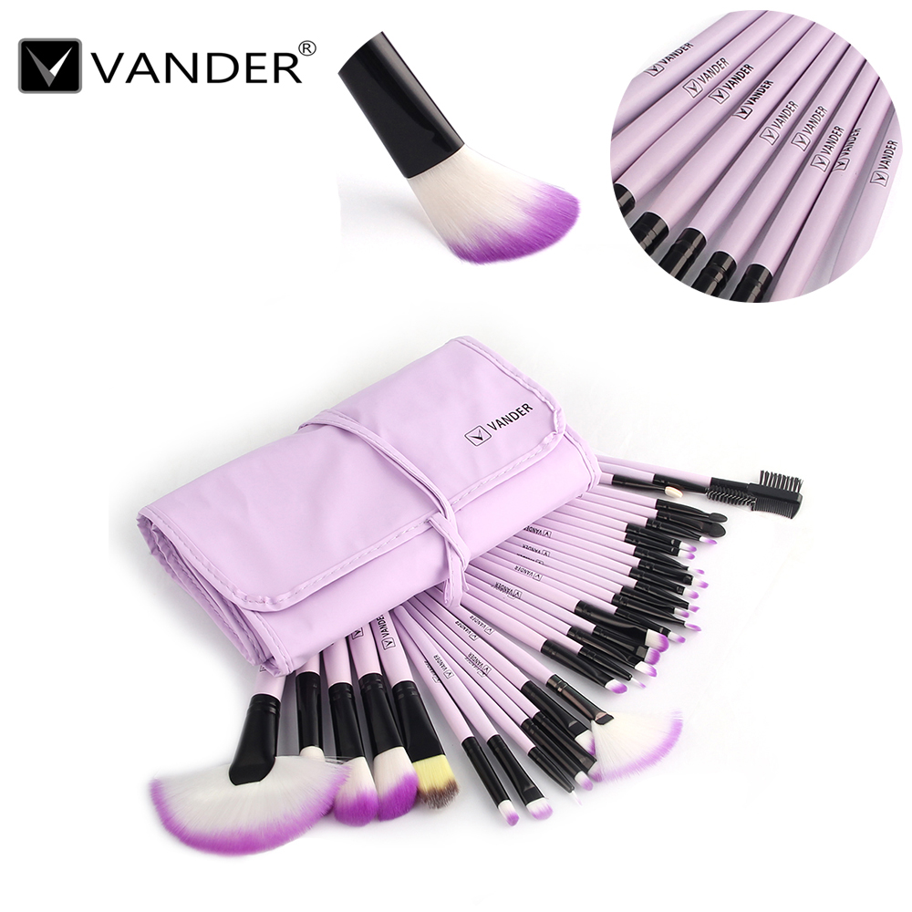 Vander 32Pcs Soft Pro Excellent Cosmetic Eyebrow Shadow Foundation Makeup Beauty Brush Set Kit + Pouch Bag(China (Mainland))