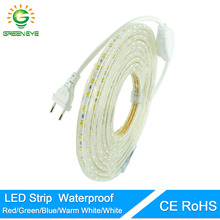 GreenEye Led Tape With Plug AC 220V 240V Waterproof SMD5050 Flexible Led Strip Light 60Leds/Meter Indoor Outdoor Garden Lighting