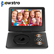 "Powstro Mini DVD Player 1600mAh 9"" Portable DVD Player CD Player with Remote Control Rechargeable Battery Car Charger AC Adapter(China)"