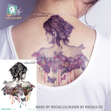 LC-520/2016 Latest Big Waterproof  Women/MenTemporary Body Art Tattoo Stickers Half Butterfly Girl Tattoo Stickers On Back Arm