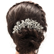 2017 New Fashion Leaves Flower Wedding Hair Comb Clear Rhinestone Crystal Bride Hair Accessories Women Jewelry XBY688(China)