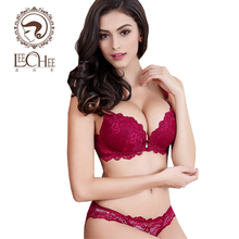 LeecheeZ099 Sexy Lingerie Adjustable Lace Deep-V Bra underwear Women Set Push up Bra And Panty Set 3/4 Cup Black Blue Red White