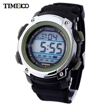 Time100 Youth Digital Sport Watch LED Multifunction Alarm Waterproof Rubber Boy's Military Strap Electronic Wrist Watch Relogio(China)