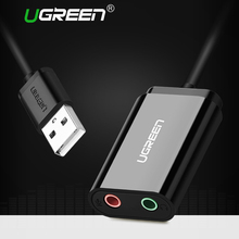 Ugreen Sound Card External 3.5mm USB Adapter Audio Card USB to Jack 3.5mm Earphone Micphone Sound Card for Computer USB Sound