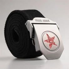Man Belt Automatic Metal Buckle Solid/Strip Men's Belts Waist Strap Red Star Casual 0081