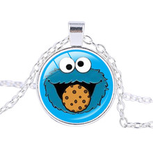 Sesame Street Women Necklace Cartoon Children Gifts Pendant Necklace Cookie Monster Jewelry Silver Plated Chains ras de cou