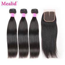 [Mealid] Brazilian Straight Hair 3 Bundles With Closure Non-remy Human Hair Bundles With Closure Middle Part(China)