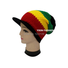 DHL/EMS Free Shiping 20PCS Unisex Jamaica Marley Reggae Rasta Style Colorful Stripe Visor Cap Baggy Slouch Beanie Knitted Hats