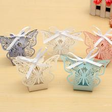 10Pcs Paper Butterfly Laser Cut Candy Boxes For Wedding Party Decor Chocolate Box Baby Shower Valentine's Day Gifts Favor