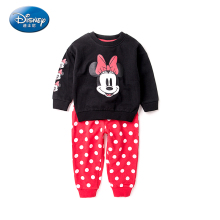 Disney 2pcs Baby Clothing Sets Girls Cloth Minnie And Mickey Sweatershirt+Pants Casual Black Red Pullover Cartoon Kids Clothes(China)