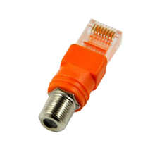 5Pcs/Lot F-Type RG6 Connector RF Female to RJ45 male Coaxial Barrel Coupler Adapter Coax adapter, RJ45 to RF connector