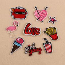 Flamingo Letter Patches Computer Embroidery Hand Sewing Ironing Stripes Patch Sticker On Cloth Jacket Hat Bag Accessories